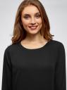 Блузка прямого силуэта на подкладке oodji #SECTION_NAME# (черный), 11411190/48854/2900N - вид 4