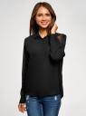 Блузка базовая из струящейся ткани oodji для женщины (черный), 11400368-9B/36215/2900N