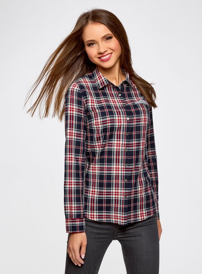 Рубашка принтованная хлопковая oodji #SECTION_NAME# (синий), 11406019/43593/7912C