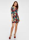 Платье трикотажное с цветочным принтом oodji #SECTION_NAME# (разноцветный), 14001121-1/16300/7919F - вид 2
