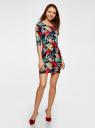 Платье трикотажное с цветочным принтом oodji для женщины (разноцветный), 14001121-1/16300/7919F