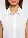 Рубашка прямая без рукавов oodji #SECTION_NAME# (белый), 14911017/49224/1000N - вид 4