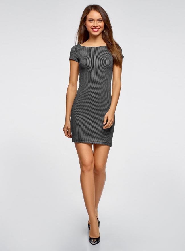 Платье трикотажное с принтом oodji для женщины (черный), 14001117-4/16564/2910S