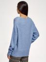 Джемпер с шерстью свободного силуэта oodji для женщины (синий), 63807366/50290/7400M
