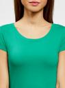 Футболка базовая из хлопка oodji для женщины (зеленый), 14701008B/46154/6D00N