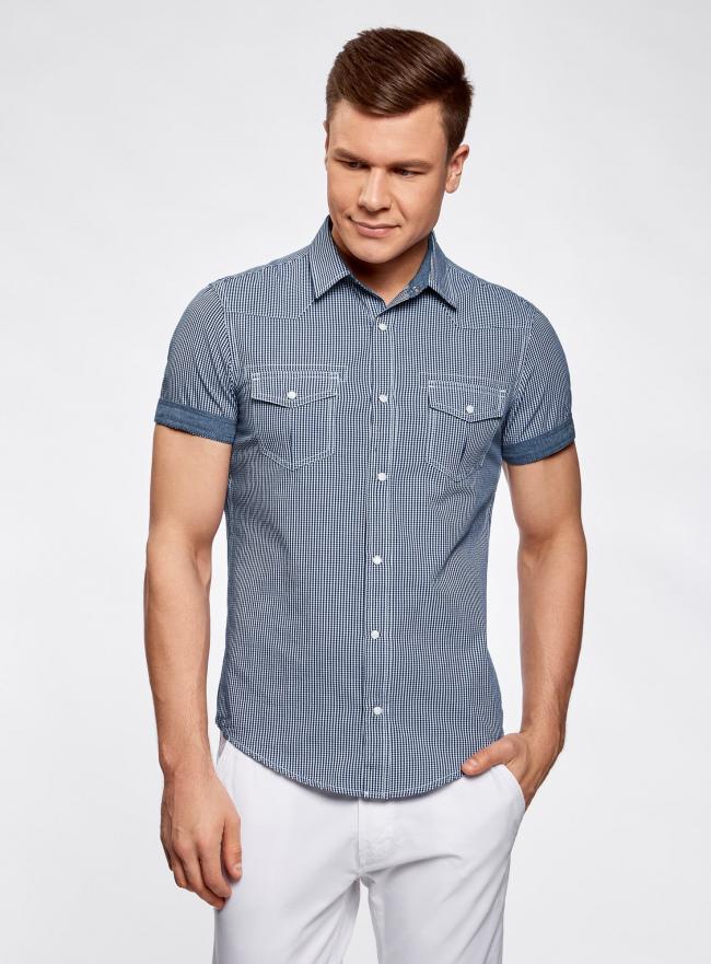 Рубашка с коротким рукавом и нагрудными карманами oodji #SECTION_NAME# (синий), 3L410072M/44182N/1075C