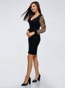 Платье комбинированное oodji для женщины (черный), 73912121-2/45132/2933A