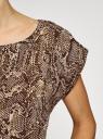 Блузка принтованная из вискозы oodji #SECTION_NAME# (бежевый), 11400345-2/24681/3933A - вид 5