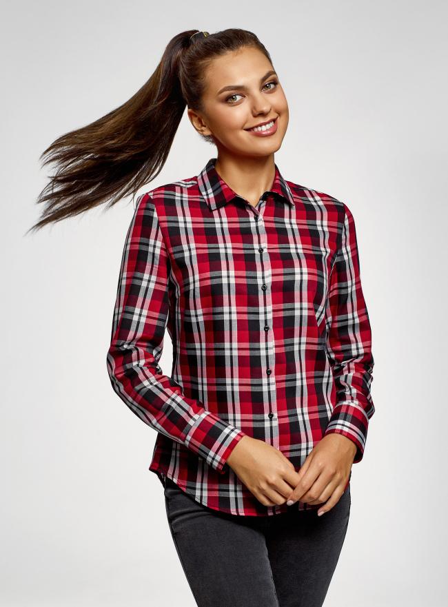 Рубашка базовая в клетку oodji для женщины (красный), 13L03002B/33081/2945C
