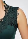 Платье с кружевной отделкой по горловине oodji для женщины (зеленый), 24015001/33038/6E00L