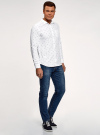 Рубашка хлопковая с нагрудным карманом oodji #SECTION_NAME# (белый), 3L310178M/48974N/1079G - вид 6
