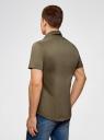 Рубашка базовая с коротким рукавом oodji #SECTION_NAME# (зеленый), 3B240000M/34146N/6600N - вид 3