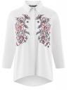 Рубашка свободного силуэта с вышивкой oodji для женщины (белый), 13K11002-2/43609/1075P