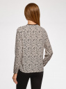 Блузка из струящейся ткани с контрастной отделкой oodji #SECTION_NAME# (бежевый), 11411059B/43414/3329F - вид 3