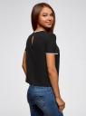 Блузка с коротким рукавом и контрастной отделкой oodji #SECTION_NAME# (черный), 11401254/42405/2900N - вид 3