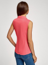 Рубашка базовая без рукавов oodji #SECTION_NAME# (розовый), 14905001B/45510/4D01N - вид 3