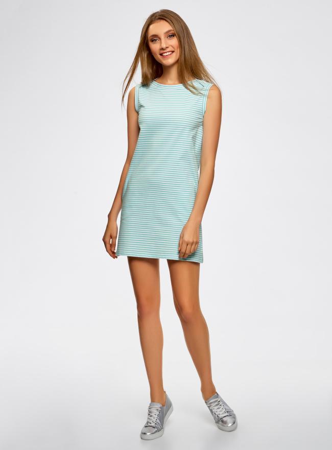 Платье из ткани пике oodji для женщины (синий), 14005074-1B/46149/7010S