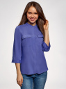 Блузка вискозная с регулировкой длины рукава oodji #SECTION_NAME# (синий), 11403225-9B/48458/7500N - вид 2