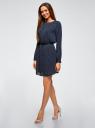 Платье из струящейся ткани с ремнем oodji для женщины (синий), 11911030/43414/7910D
