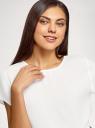 Блузка свободного силуэта с вырезом-капелькой на спине oodji для женщины (белый), 11411138-1B/43281/1200N