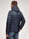 Куртка стеганая с капюшоном oodji #SECTION_NAME# (синий), 1B112009M/25278N/7901N - вид 3