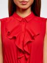 Платье из струящейся ткани с жабо oodji #SECTION_NAME# (красный), 21913018/36215/4500N - вид 4