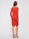 Платье трикотажное облегающего силуэта oodji #SECTION_NAME# (красный), 14001183B/46148/4500N - вид 3