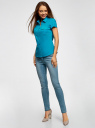 Рубашка базовая с коротким рукавом oodji #SECTION_NAME# (бирюзовый), 11402084-5B/45510/7300N - вид 6