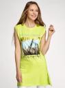 Платье хлопковое с принтом oodji для женщины (зеленый), 14008040-3/44135N/6729P