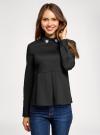 Блузка с баской и декором на воротнике  oodji #SECTION_NAME# (черный), 13K00001-2B/42083/2900N - вид 2