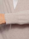Кардиган удлиненный без застежки oodji для женщины (бежевый), 63212596/48099/3300M