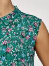 Топ базовый из струящейся ткани oodji для женщины (зеленый), 14911006-2B/43414/6C19F - вид 5