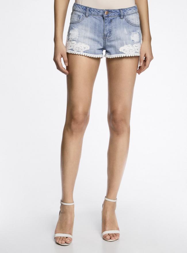 Шорты джинсовые с кружевом oodji для женщины (синий), 12807075/42559/7500W