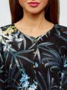 Жакет вязаный с цветочным принтом oodji #SECTION_NAME# (черный), 73212400/45755/2919F - вид 4