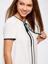 Блузка с коротким рукавом и контрастной отделкой oodji #SECTION_NAME# (белый), 11401254/42405/1200N - вид 4