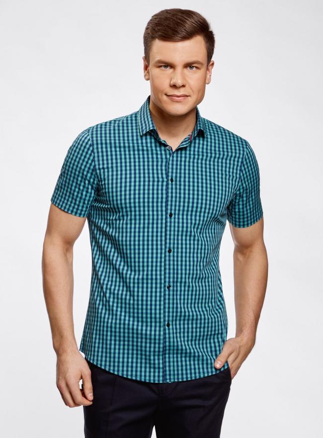 Рубашка приталенная в клетку oodji #SECTION_NAME# (зеленый), 3L240005M/39767N/6C79C