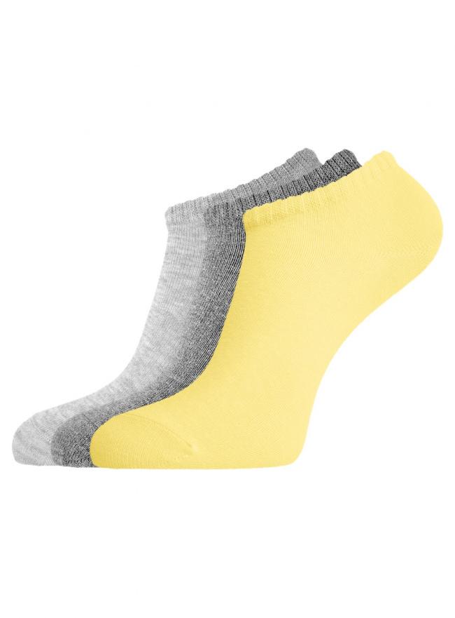 Комплект из трех пар укороченных носков oodji для женщины (разноцветный), 57102433T3/47469/19INN