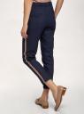 Брюки на эластичном поясе с лампасами oodji для женщины (синий), 11703097-1/16009/7935B