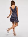 Платье принтованное с бантом на спине oodji для женщины (синий), 11900181M/35271/7941F