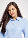 Блузка прямого силуэта с нагрудным карманом oodji #SECTION_NAME# (синий), 11411134-1B/46123/7003N - вид 4
