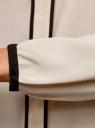 Блузка прямого силуэта с завязками oodji #SECTION_NAME# (бежевый), 11401267/42405/3329B - вид 5