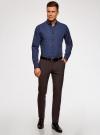 Рубашка хлопковая в мелкую графику oodji для мужчины (синий), 3L110298M/44425N/7975G - вид 6
