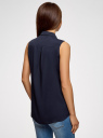 Топ вискозный с рубашечным воротником oodji #SECTION_NAME# (синий), 14911009B/26346/7900N - вид 3