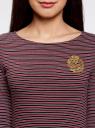 Платье трикотажное в полоску oodji #SECTION_NAME# (красный), 14001071-11/46148/4929S - вид 4