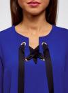 Блузка с бантом и рукавом-колоколом oodji #SECTION_NAME# (синий), 11401256/45994/7500N - вид 4