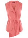 Жилет из струящейся ткани с поясом oodji для женщины (розовый), 22305004-1/43859/4100N