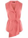 Жилет из струящейся ткани с поясом oodji #SECTION_NAME# (розовый), 22305004-1/43859/4100N