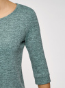 Свитшот с круглым вырезом и рукавом 3/4 oodji для женщины (бирюзовый), 14801021-8B/49032/7391X