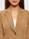 Жакет базовый приталенного силуэта oodji для женщины (бежевый), 21202077-3B/18600/3500N