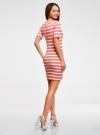 Платье прилегающего силуэта в рубчик oodji #SECTION_NAME# (розовый), 14011012/45210/4310S - вид 3
